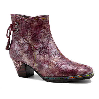 Women's handmade retro metal-reflective platform high heel boots for autumn and winter
