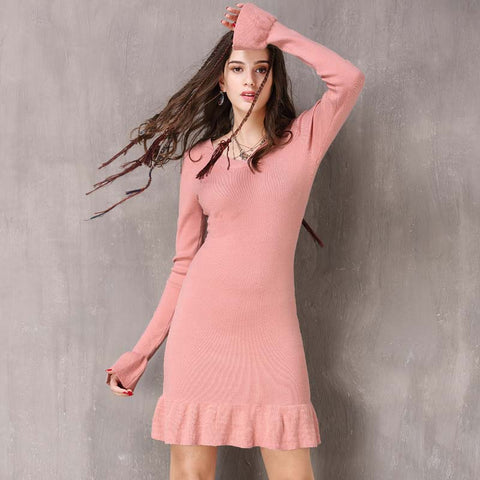 Winter New Vintage Ruffled Long Sleeve Dress
