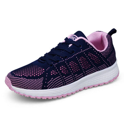 2019 new four seasons lightweight sports shoes female Korean students running shoes breathable flying woven lace casual shoes women's shoes