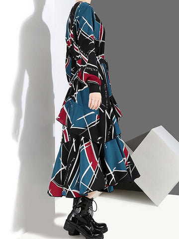 Geometric Belt Ruffle Asymmetric Long Sleeve Round Neck A-Line Day Dresses