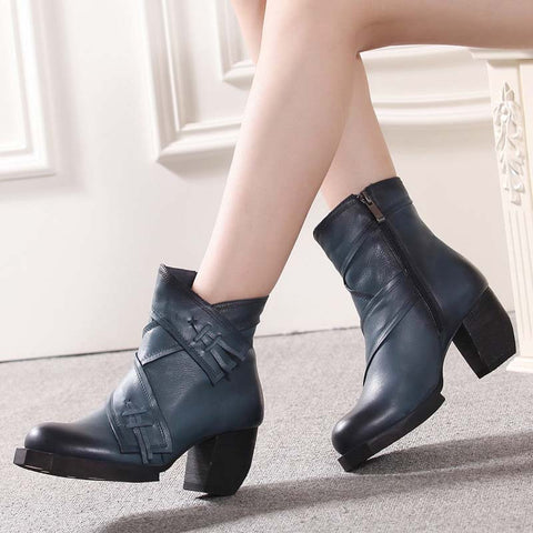 Fashion casual leather high-end autumn and winter boots