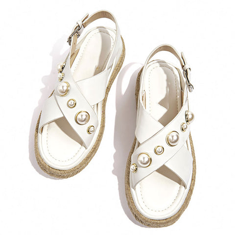 Cultured Pearl Cross Leather Buckle Platform Line Soft Sandals