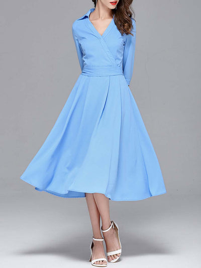 Solid Color Belt Patchwork Turn Down Collar Short Sleeve Day Dresses