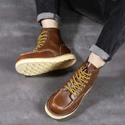 New leather retro trend flat flat round head literary workwear men's Martin boots