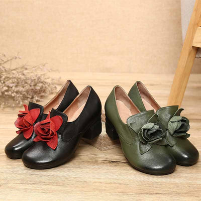 Vintage rough with round head flower loafers