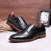 New leather business men's shoes Brock retro first layer cowhide gentleman lace-up shoes