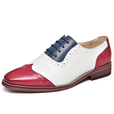 British Color Block Hollow Patchwork Round Toe Lace-Up Slip-On Loafers