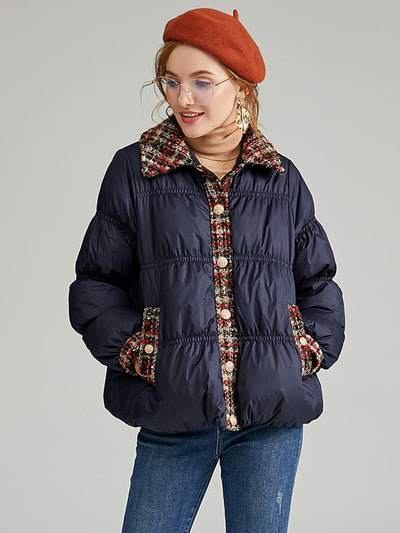 Winter new French style contrast small fragrance design short section down jacket