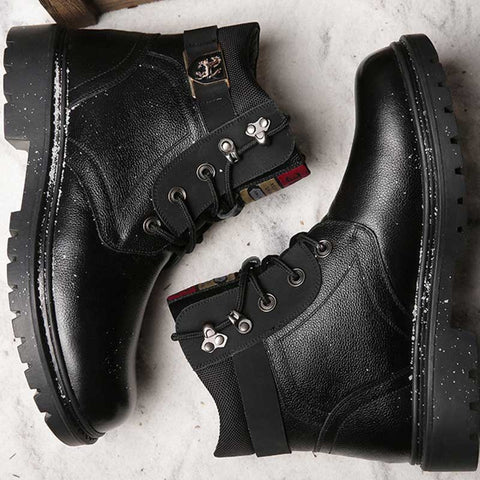 High-top men's shoes 2019 winter new men's casual Martin boots plus velvet warm cotton shoes men's leather wool thickened