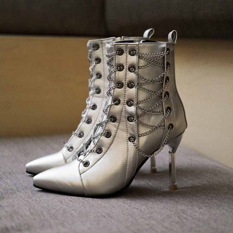 Personalized cross chain high heel ankle boots