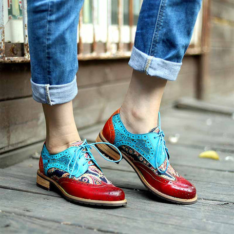 New casual women's shoes retro ethnic style Brock genuine leather shoes
