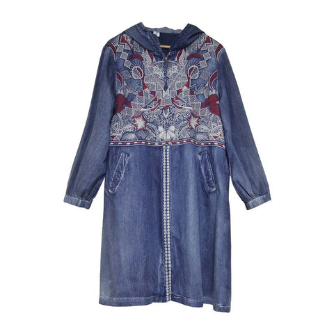 2019 autumn new retro embroidery hooded denim trench coat