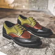 Wipe color patent-leather patchwork color business casual leather brock men's shoes
