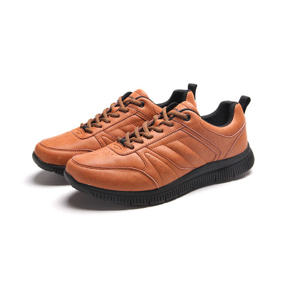 Autumn and winter new leather men's sports shoes casual running shoes