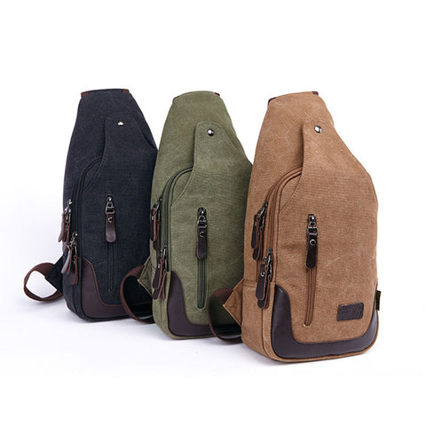 New multifunctional men's shoulder chest bag outdoor sports canvas chest bag solid color diagonal cross bag