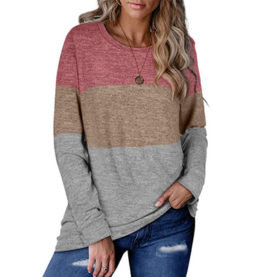 Women's autumn and winter hot sale casual loose round neck pullover color-blocking top/sweater