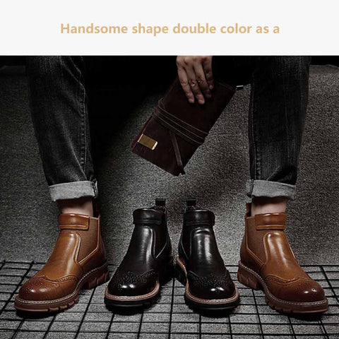 2019 new men's casual fashion warm leather martin boots