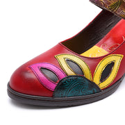 Leaf 3D Flower Patchwork Hollow Ruond Toe Chunky Heel Pumps & Heels
