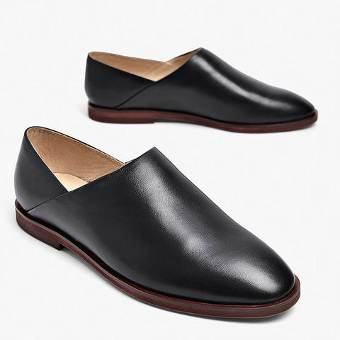 Asymmetric Solid Color Point Toe Leather Patchwork Low Heel Loafers