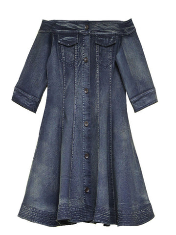 Slash Neck Half Sleeve A-Line Pocket Patchwork Buttons Mini Denim Dresses