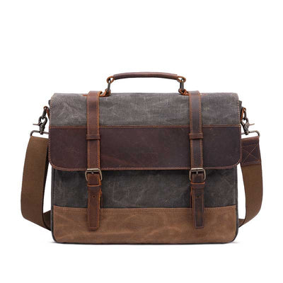 Vintage Men's Oil Wax Canvas Crossbody Bag