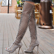 Hollow Peep Toe Stiletto Heel Lace-Up Back Zipper Knee-High Sandals