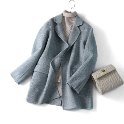 Women's hand-sewn double-side woolen jacket autumn and winter plaid suit coat