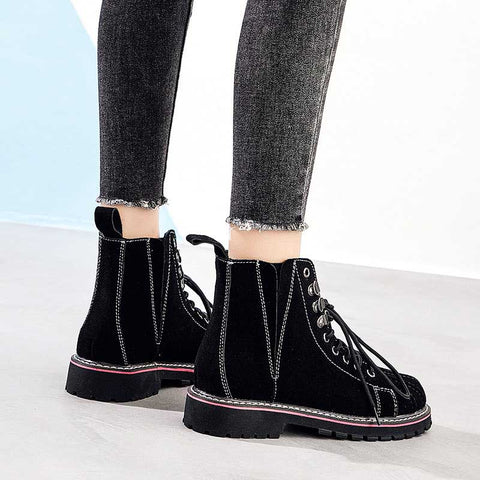 Shell head beef tendon thick bottom middle tube lace tooling women's boots