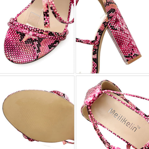 Snakeskin Belt Chunky Heel Lace-Up Open Toe Hollow Sandals