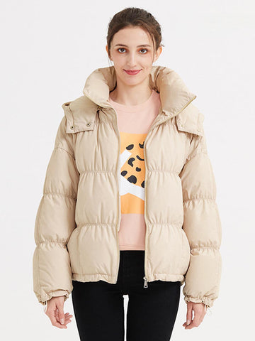 2019 winter new down jacket female short section collar hooded jacket