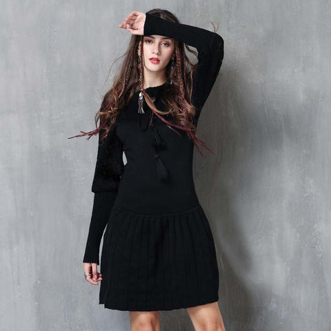Winter new tassel retro hollow slim dress