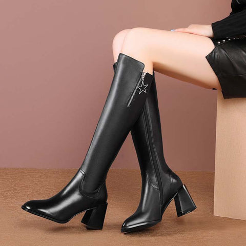 2019 autumn and winter new fashion leather women's thick heel knight high boots