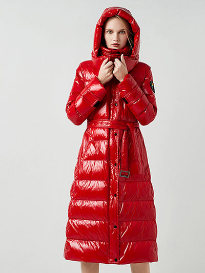 2019 winter new thickening red long paragraph over the knee bright hooded down jacket