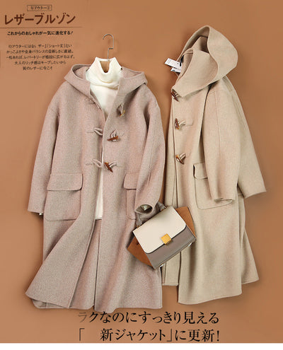 Women's new autumn and winter mid-length double-side woolen coat with horn buttons