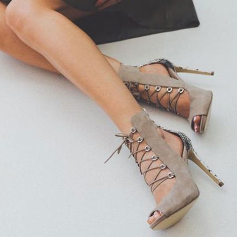 Snakeskin Color Block Peep Toe Hollow Lace-Up Stiletto Heel Sandals