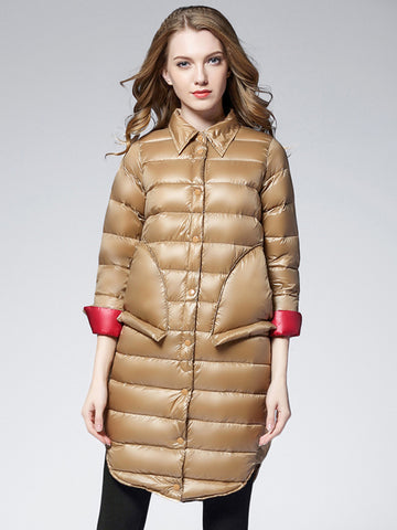 Winter fashion new loose thin white duck down in the long section of light down jacket