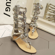 Bohemian Hollow High-Upper Rhinestone Thong Flat Heel Sandals