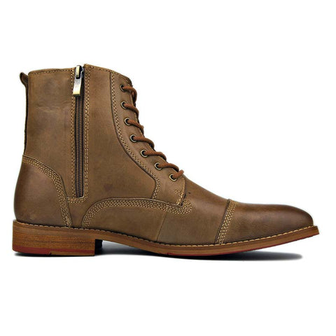 Men's retro autumn and winter trend high to help leather tooling Martin boots