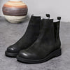 European and American style thick bottom big pier layer leather ankle boots