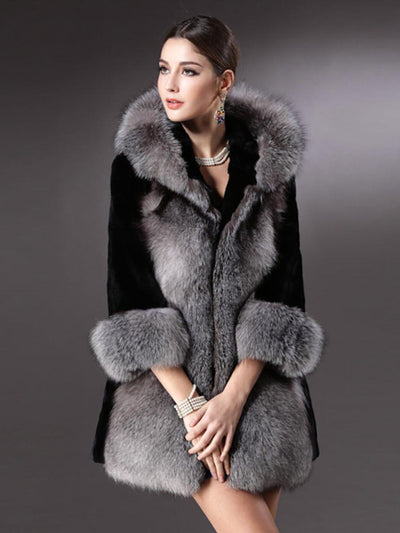 Winter style imitation mink fur coat coat female European and American style hooded thick large fur collar faux fur coat