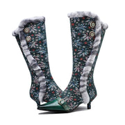 New ethnic retro style lace dark grain flanged leather cloth splicing fine heel high boots