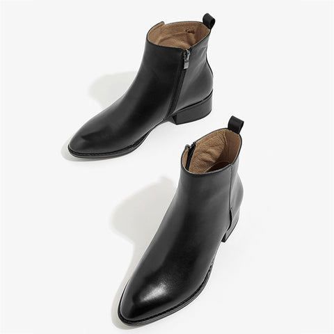 Autumn and winter new Chelsea boots thick heel women's boots leather warm short boots flat bottom British style Martin boots
