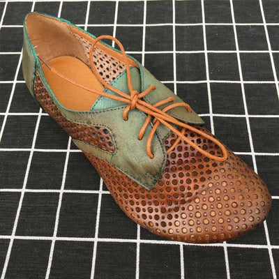 Round leather retro hollow lace-up single shoes