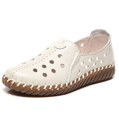 2020 summer new leather hollow casual wild women's hole shoes