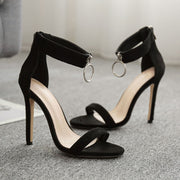 Open Toe Sequins Ring Stiletto Heel Suede Back Zipper Ankle Strap Sandals