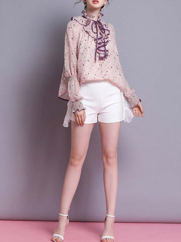 Bowknot Ruffle Sequins Pink Puff Sleeve Stand Collar Blouses