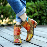 2019 American New Casual Leather Retro Classic Printing Belt Women's High-Top Short Boots