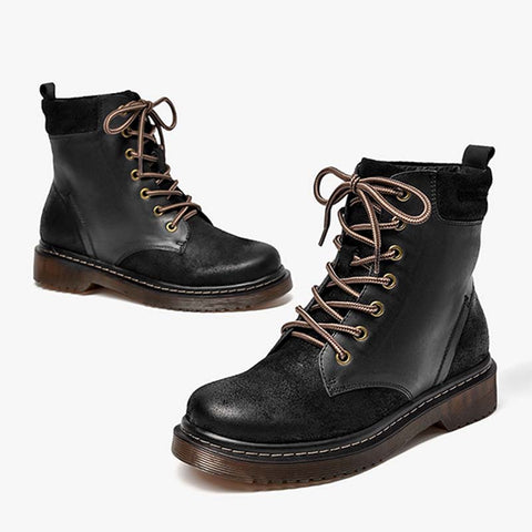 2019 autumn new lace in the tube Martin boots children thick with leather thick bottom retro tide British round head boots