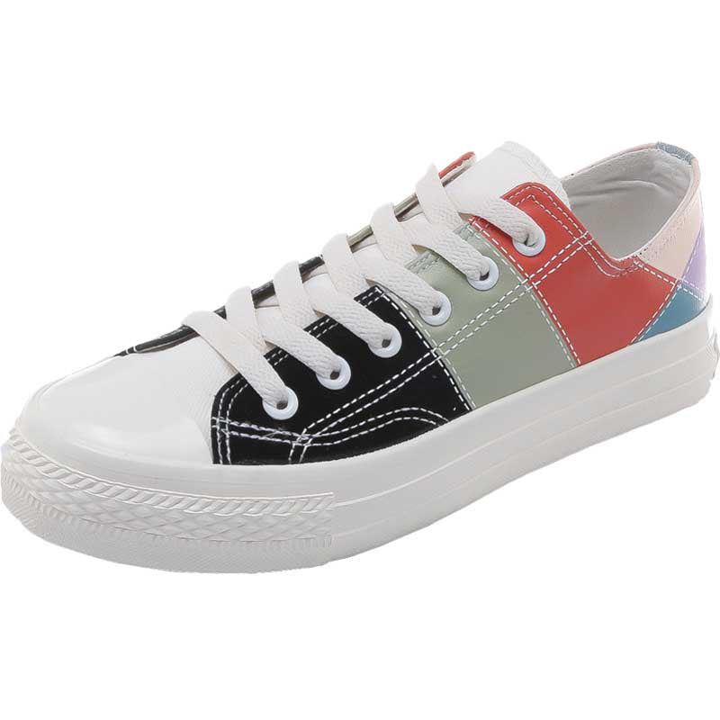 Casual flat-bottomed tie-up colorblock canvas shoes
