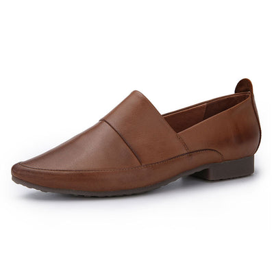 Point Toe Patchwork Leather Chunky Low Heel Slip-On Loafers